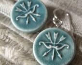 diana earrings, green ... handmade porcelain jewelry