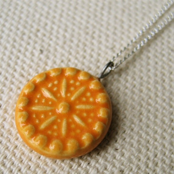 carnival necklace, tangerine ... handmade porcelain jewelry by Sofia Masri