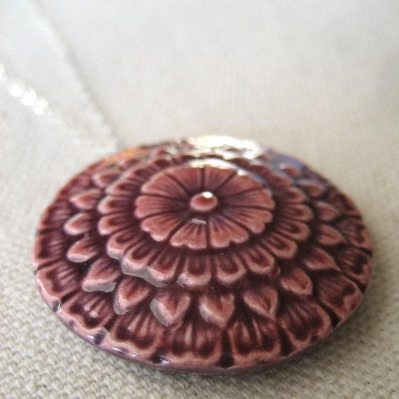 chrysanthemum necklace, plum ... porcelain jewelry by Sofia Masri
