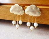 Rain Clouds Post Earrings. Gold Clouds with Cream Pearls Rain Drops. Sterling Silver Posts Whimsical. Cute.