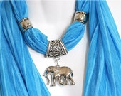 Scarf Charm Necklace Scarf Blue Scarves Bright Scarves