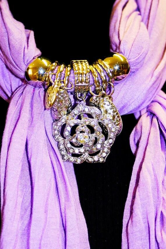 Scarf. Jewelry. Purple.Rose Pendant. Elegant. Diamante. Lavender. Mauve. Silver. Accessories. Winter Fashion Shabby Chic