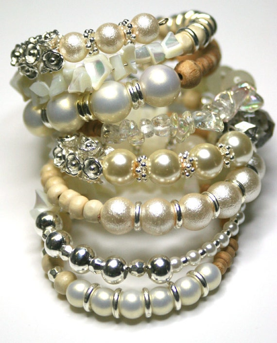 Layered Look Bracelet. Beaded Memory Wire Bracelet.Cream. White. Blonde Wood. Silver. Wedding. Stone. Pearl. Accessories Bangle
