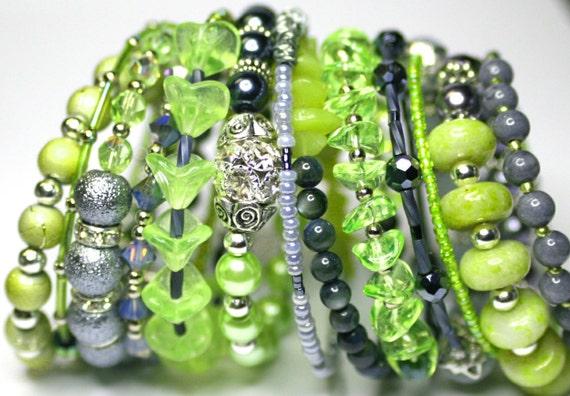 Multiple Bangles Green Bracelets Grey Bracelets Stacked Bracelets Layered Look Bracelets