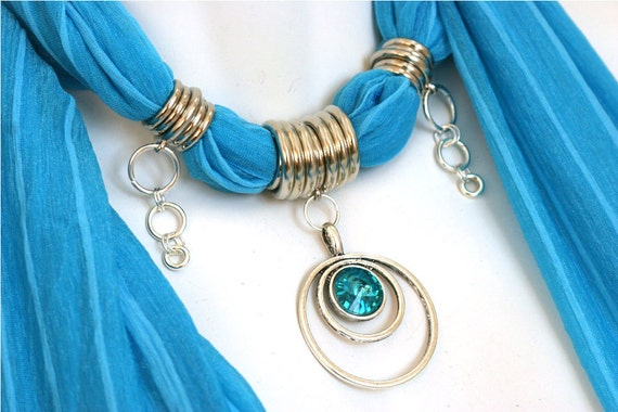 Pendant Scarf Jewelry Turquoise Silver Pendant Jewellery Scarves