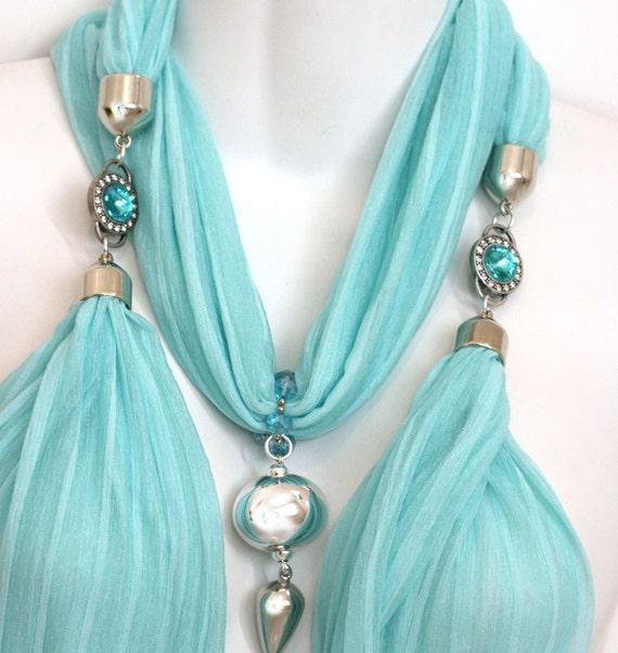 Jewelled Scarves With Pendants Seafoam Scarves Pendant Aqua Elegant Mint Accessories Pastel Scarves