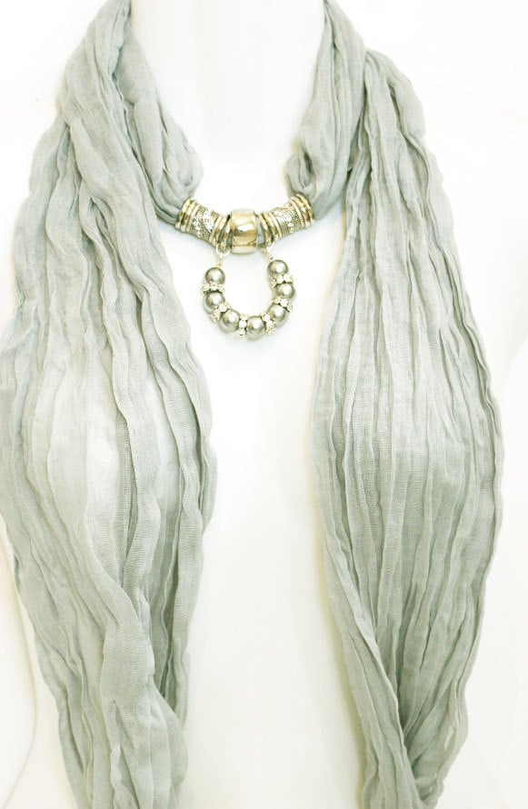 Scarf Jewelry Dove Grey Silver Diamante Pearls Horse Shoe  Scarves With Jewelry On Them