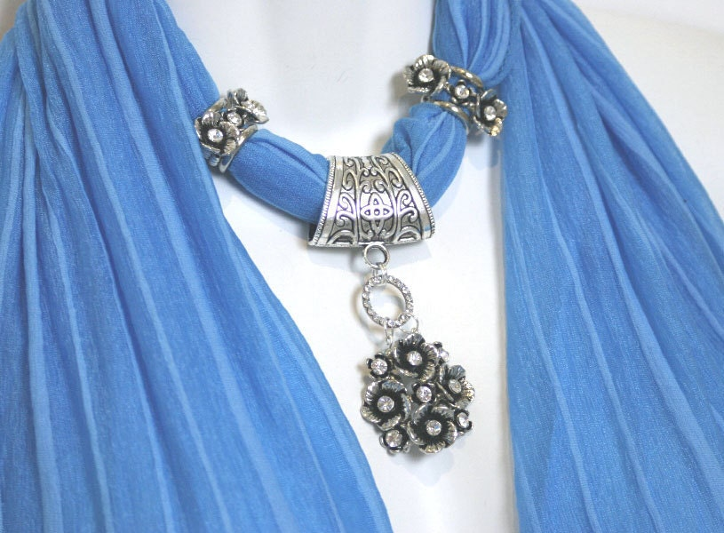 Scarf Jewelry Blue Turquoise Diamante Flowers Silver Scarves  Scarves With Jewelry On Them
