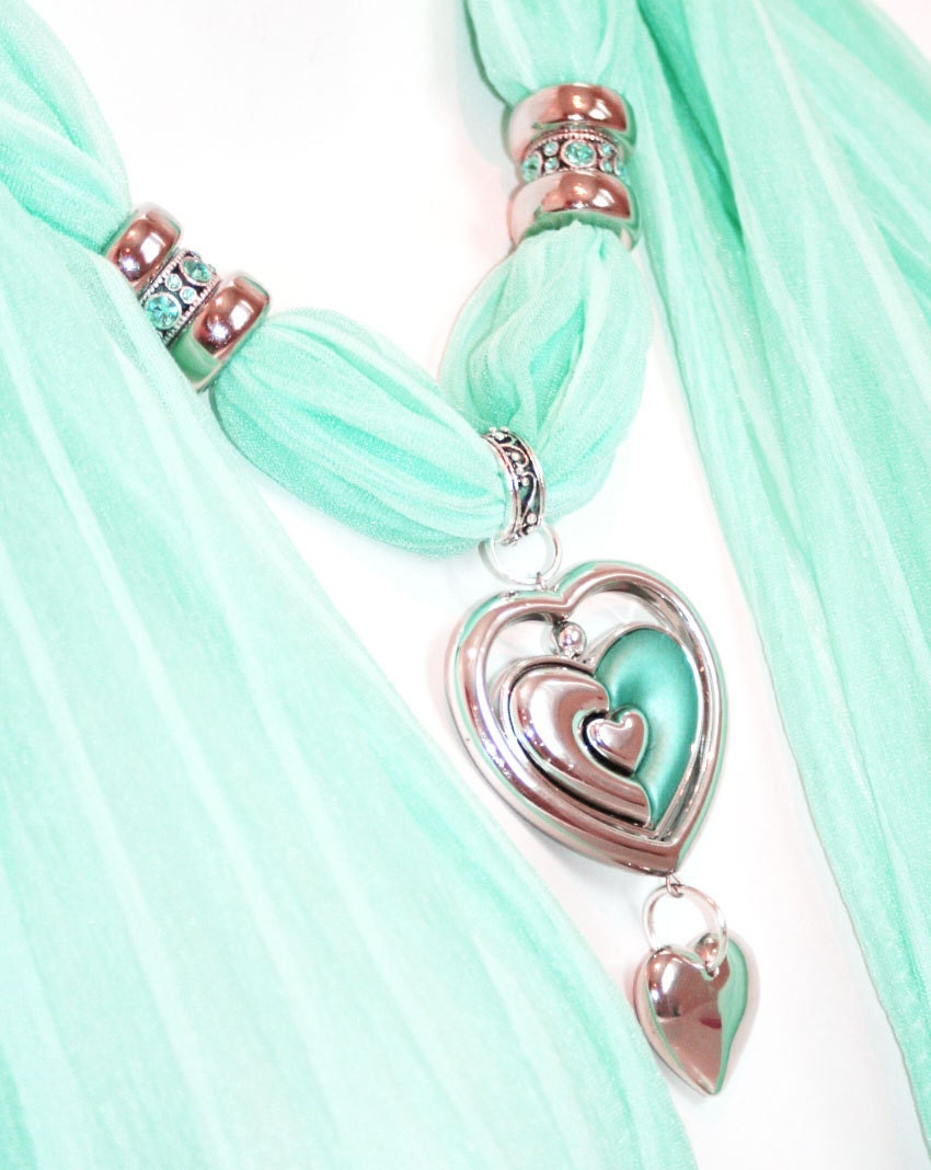 Scarf Jewelry Scarves With Pendants Seafoam Green Heart Pendant Aqua  Scarves With Jewelry On Them