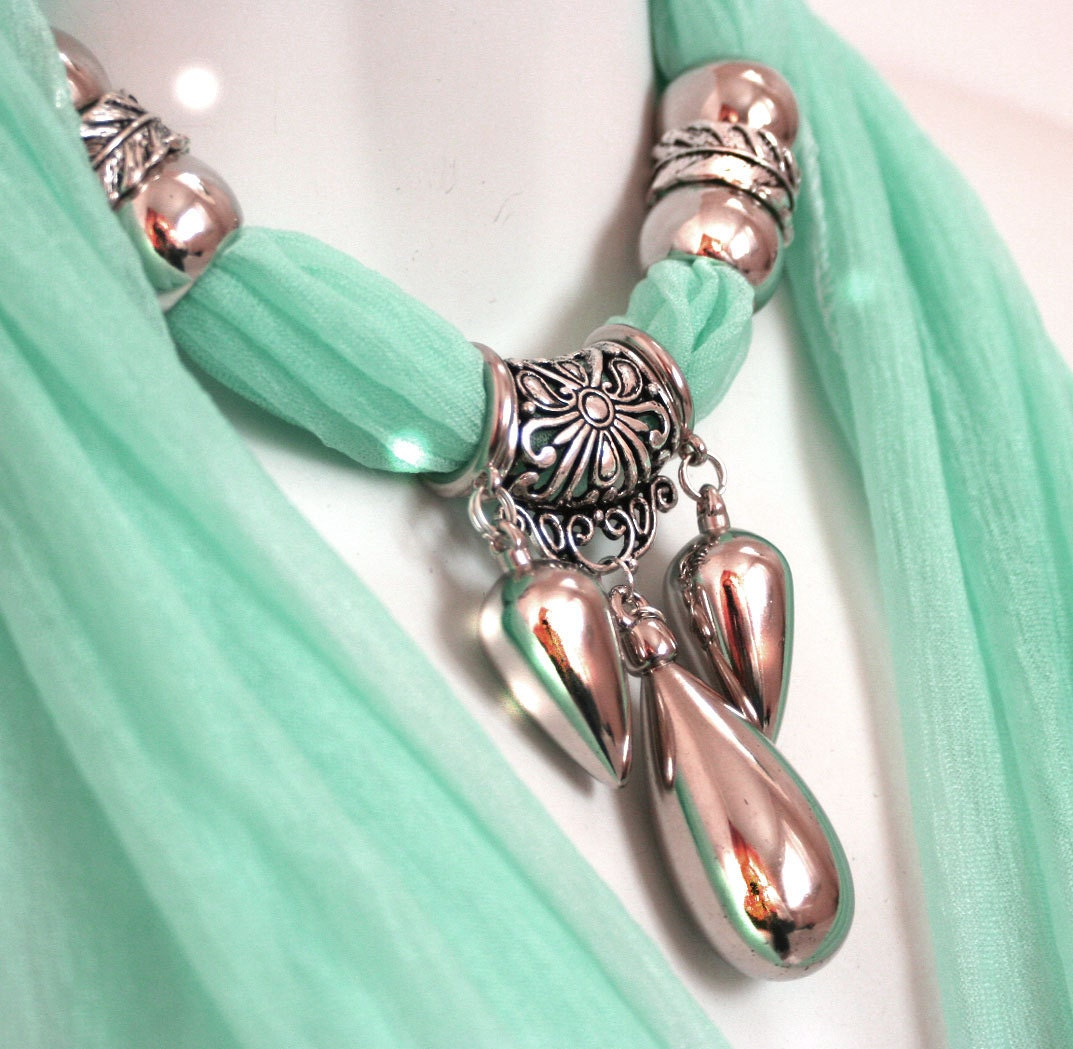 Scarf Jewelry Scarves With Pendants Aqua Scarf Pastel Scarves Scarves With Jewelry On Them