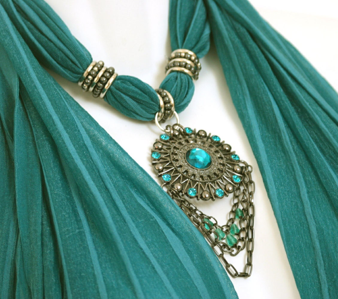 scarf jewelry teal scarves with pendants by