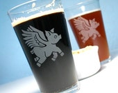 2 Bacon Angel Pint Glasses - flying pigs