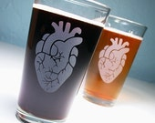 2 Anatomical Heart Etched Pint Glasses