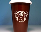 Sad Pug Dog Ceramic Travel Mug - BROWN coffee cup - BPA-free lid