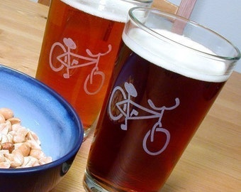 Bicycle Pint Glass - sandblasted bike