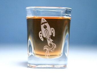 Rocket Ship Space Shot Glass