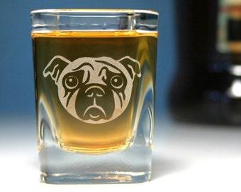 Sad Pug Dog shot glass - square etched glass