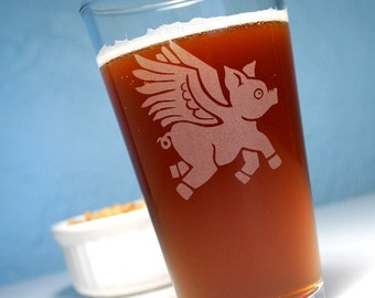 Flying Pig Pint Glass - winged pig angel of bacon