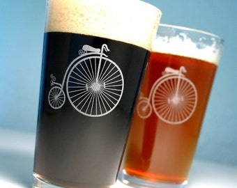 2 Ordinary Bicycle Pint Glasses - steampunk penny farthing bikes