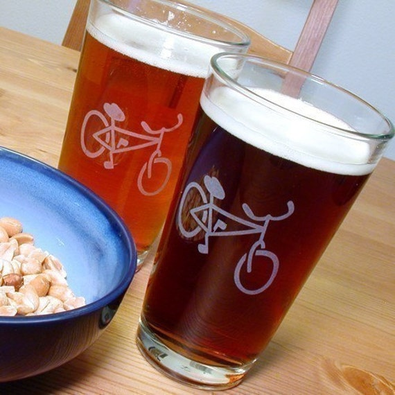 Bicycle Pint Glass - sandblasted bike
