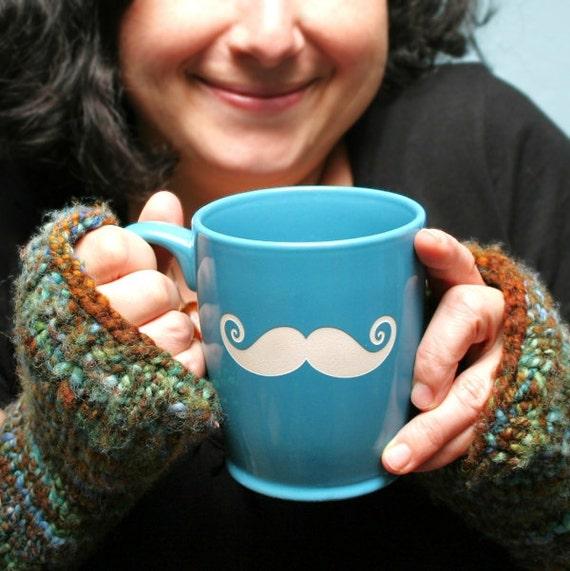 Mustache Mug - Sky Blue - large funny ceramic coffee cup