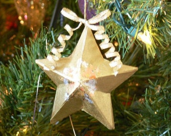 SALE - Small Gilded Star Ornament - Gorgeous Christmas Tree Decoration - Copper/Silver Leaf - (DAYSTAR) Katherine Kowalski