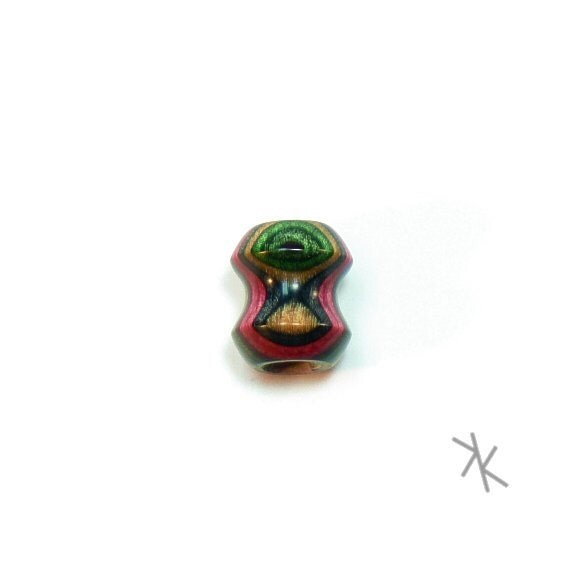 Dreadlock Bead or Wooden Focal Bead -Watermelon- Dyed Hardwood (DAYSTAR) Katherine Kowalski woodturning