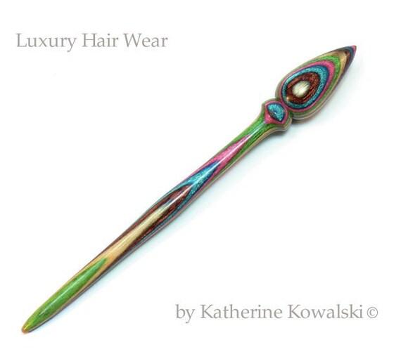 Hair Stick Pin -- Wooden Hand-Turned -- Tapestry Hardwood -- (DAYSTAR) Katherine Kowalski woodturning handmade