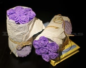Two Purple Paper Roses Bouquets: bridal shower favors, bridemaids presents, co-workers thank you gifts, etc.