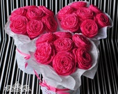 Hot Pink Paper Flower Bouquets - bridal shower favors, bridemaids presents, thank you gifts, get well, etc.