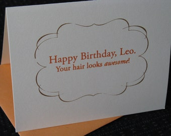 Leo Birthday Print Gocco screenprinted folded card
