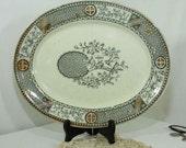 Transferware Platter Antique BGW Satsuma Victorian Staffordshire Aesthetic Stoneware