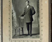 Antique Portrait Cabinet photo Young Man with starched collar and big lapel suit