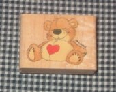 Bear With Heart Rubber Stamp