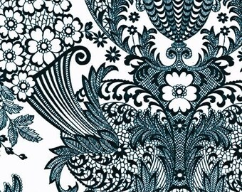OILCLOTH Fabric - Paradise Lace - Black and White