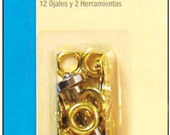 Large EYELET Kit - Gold Brass - 2 Tools
