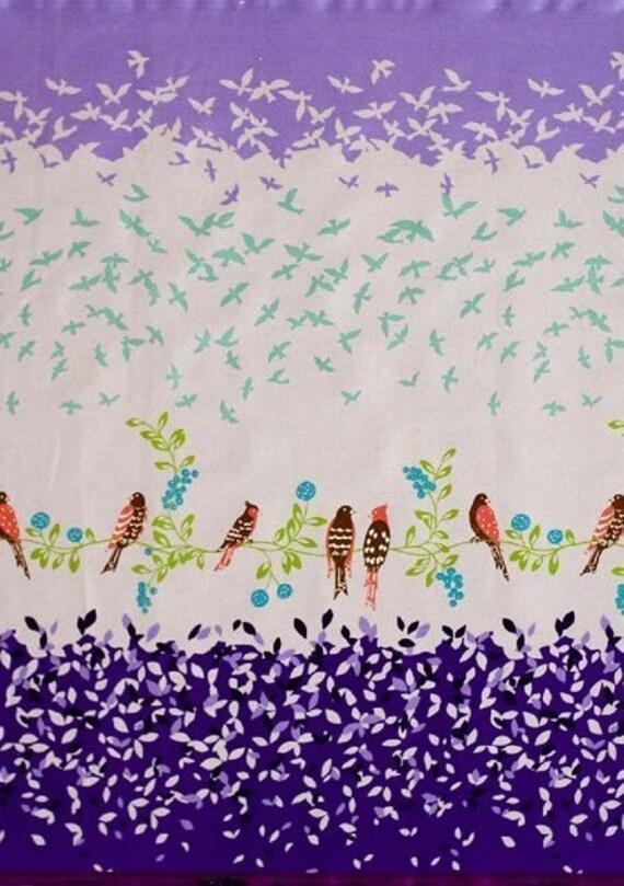 NEW Etsuko Furuya - Kokka - Japanese Import - Bird Border - Purple