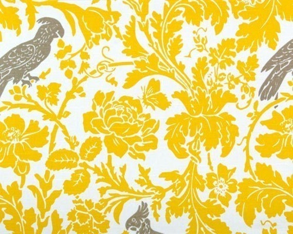 Premier prints fabric home decor yellow grey bird for Yellow wallpaper home decor