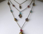 RESERVED FOR Lhexx Necklace and Earrings- Tigers Eye and Czechs Pressed beads with Brass Chain