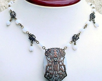 Art Nouveau Necklace, Earrings - White Opal Glass and Brass