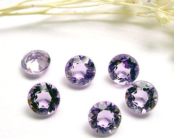 5.25mm Genuine Amethyst Round Faceted - 6 Piece Lot