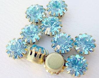 Swarovski Rhinestones Settings Findings in Brass Aqua Blue 40SS