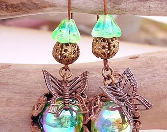 Iridescent Glass Earrings - Whimsical Butterfly