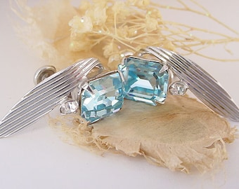 Van Dell Earrings - Sterling with Light Blue Rhinestones