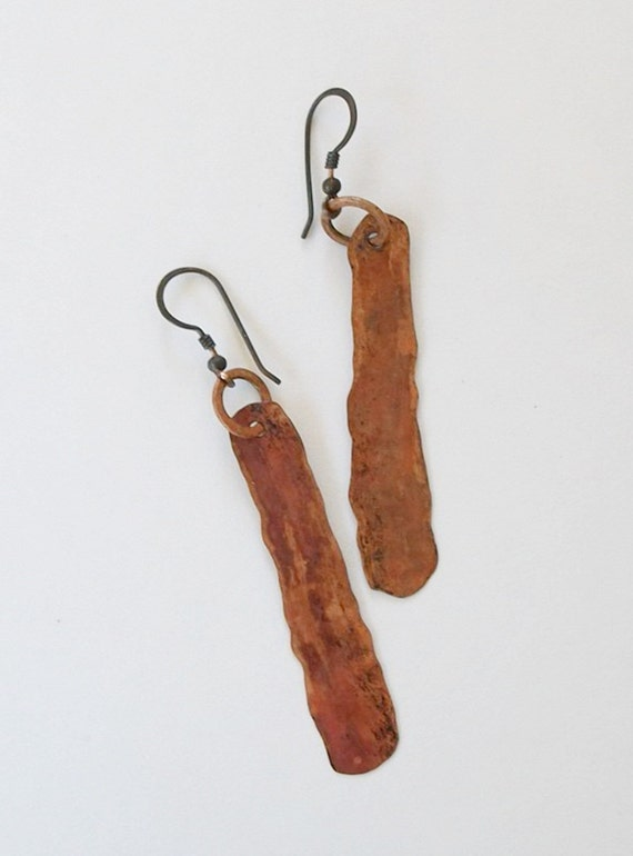Copper Dangle Earrings Rustic Ancient Oxidized