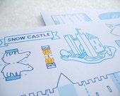 Snow Castle Fold Up Post Card
