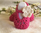 READY TO SHIP - Baby Girl Shoes, Ballerina Slippers, baby shoes, Hot Pink