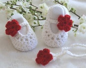 Baby gift set,  Red and White crochet baby shoes and headband set