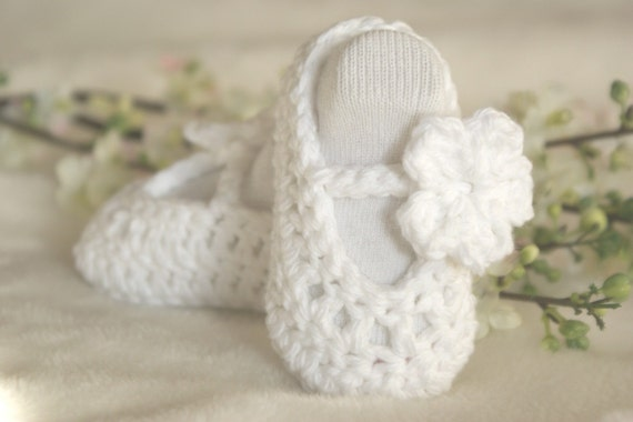 WHITE with WHITE Baby Ballerina Slippers 0-3 months