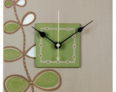 Rising Song - 7.5 x 7.5 - Taupe-Brown-Green- Earth-friendly, contemporary, handcrafted wall clock